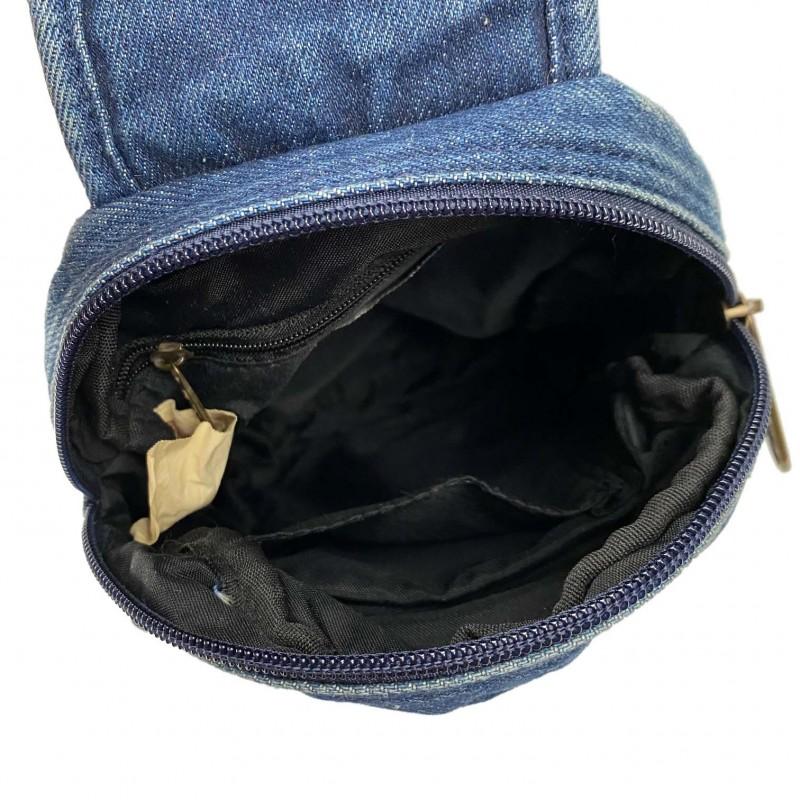 Мужская сумка James кросс боди джинсовая синяя - 8 фото