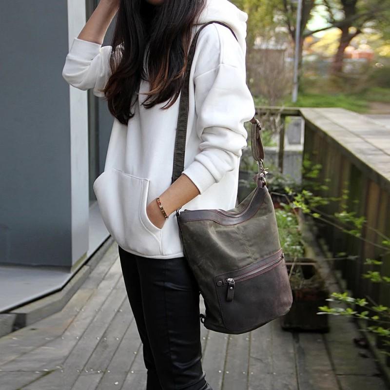 Женский рюкзак Casual way хаки фото - 3