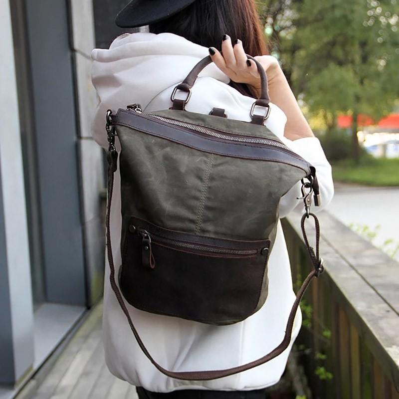 Женский рюкзак Casual way хаки фото - 8