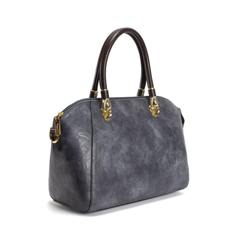Женская классическая сумка Isa Paulina DS серо-синяя - 1 фото