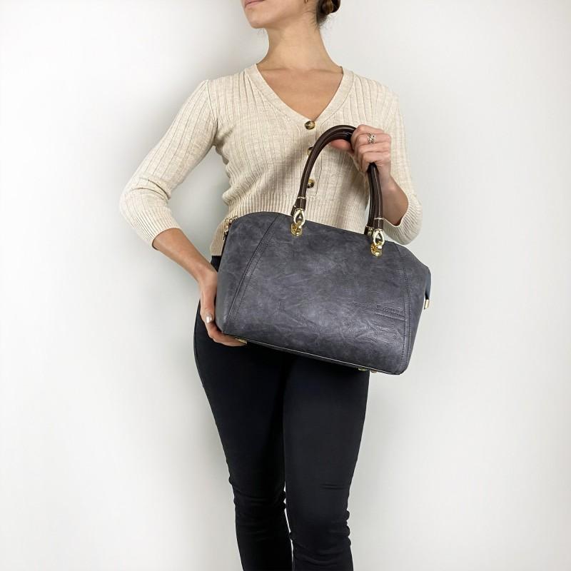 Женская классическая сумка Isa Paulina DS серо-синяя - 3 фото