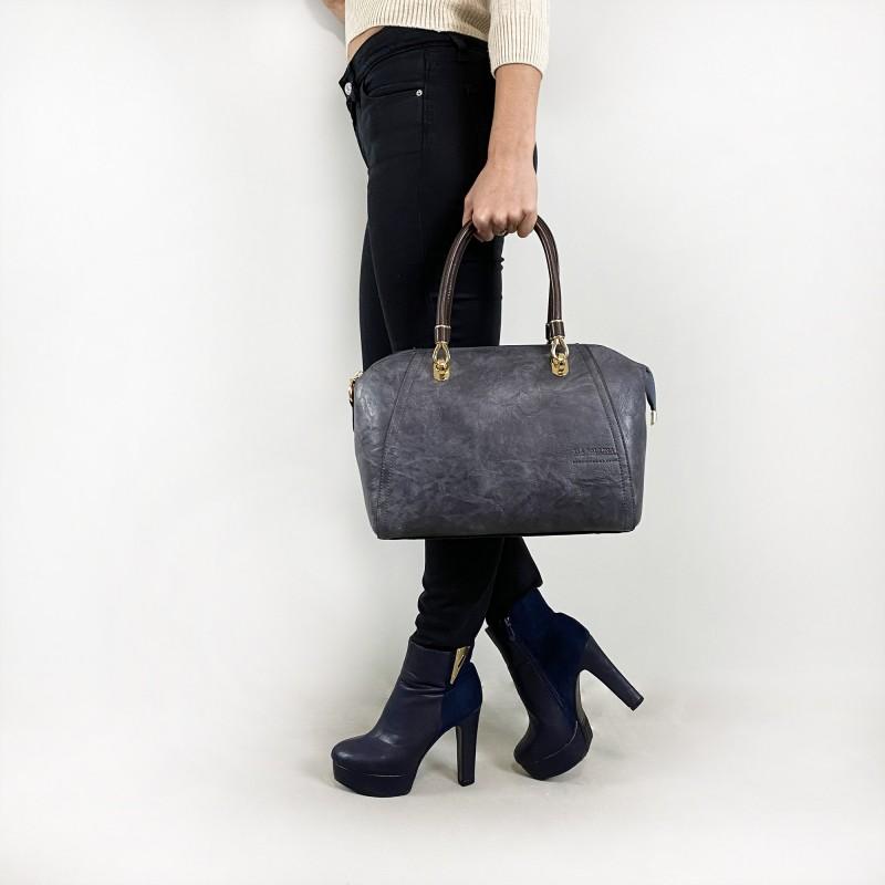 Женская классическая сумка Isa Paulina DS серо-синяя - 4 фото
