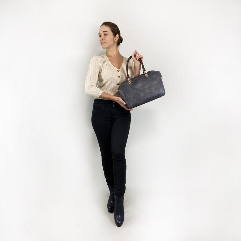 Женская классическая сумка Isa Paulina DS серо-синяя - 5 фото