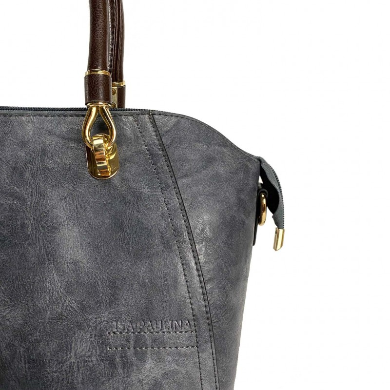 Женская классическая сумка Isa Paulina DS серо-синяя - 6 фото