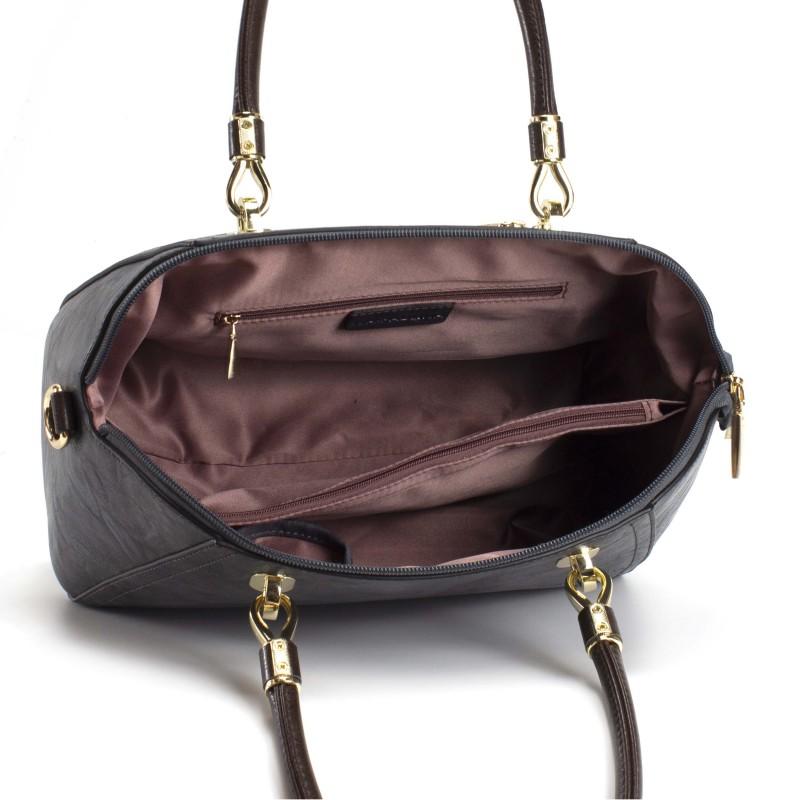 Женская классическая сумка Isa Paulina DS серо-синяя - 7 фото