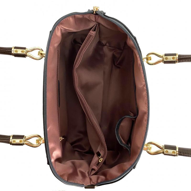 Женская классическая сумка Isa Paulina DS серо-синяя - 8 фото