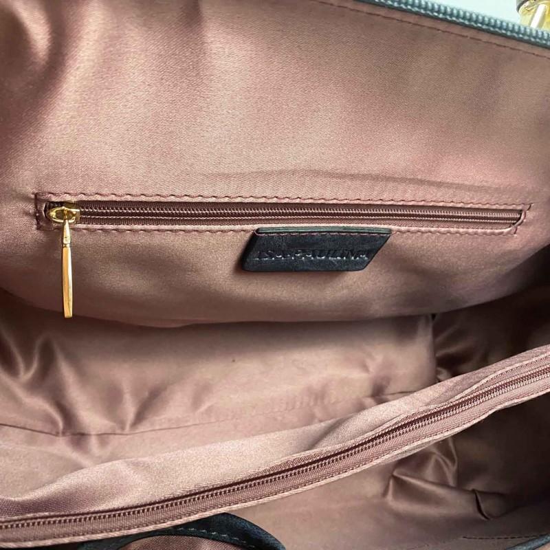 Женская классическая сумка Isa Paulina DS серо-синяя - 10 фото