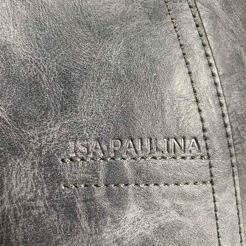 Женская классическая сумка Isa Paulina DS серо-синяя - 11 фото