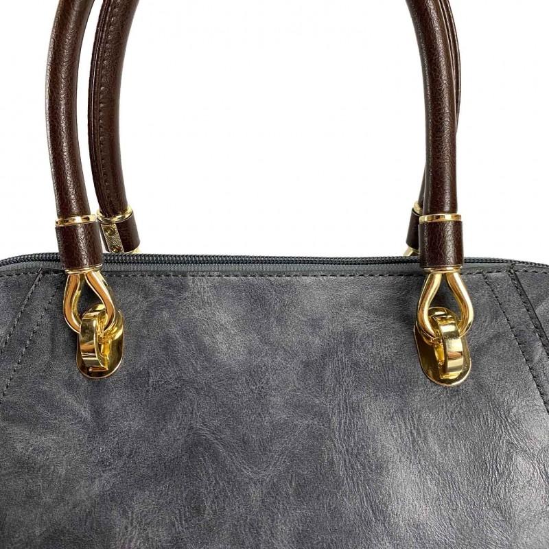 Женская классическая сумка Isa Paulina DS серо-синяя - 12 фото