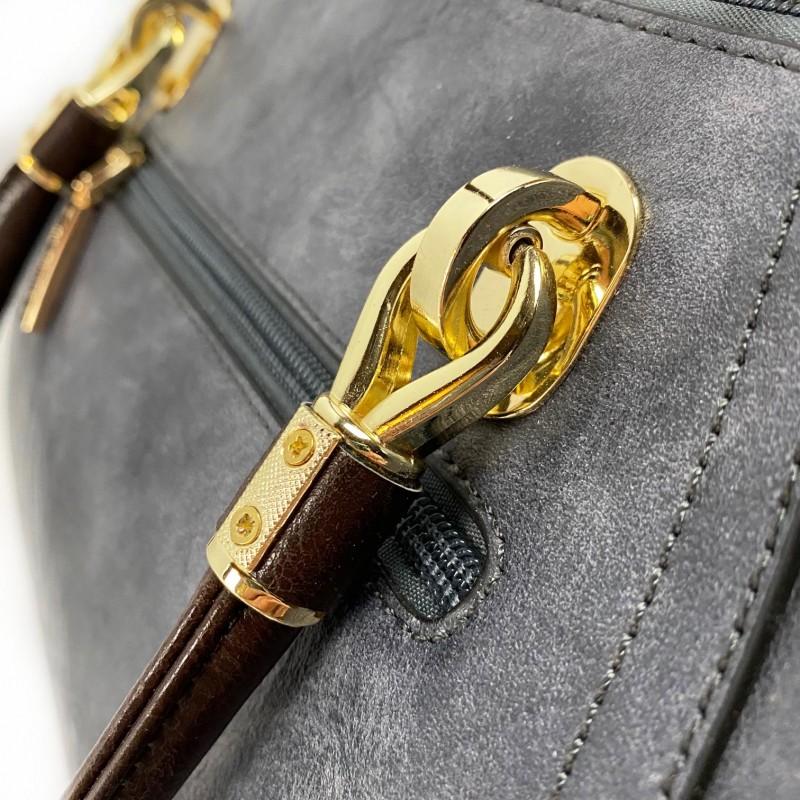Женская классическая сумка Isa Paulina DS серо-синяя - 13 фото