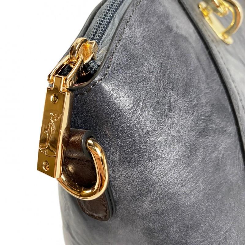 Женская классическая сумка Isa Paulina DS серо-синяя - 15 фото