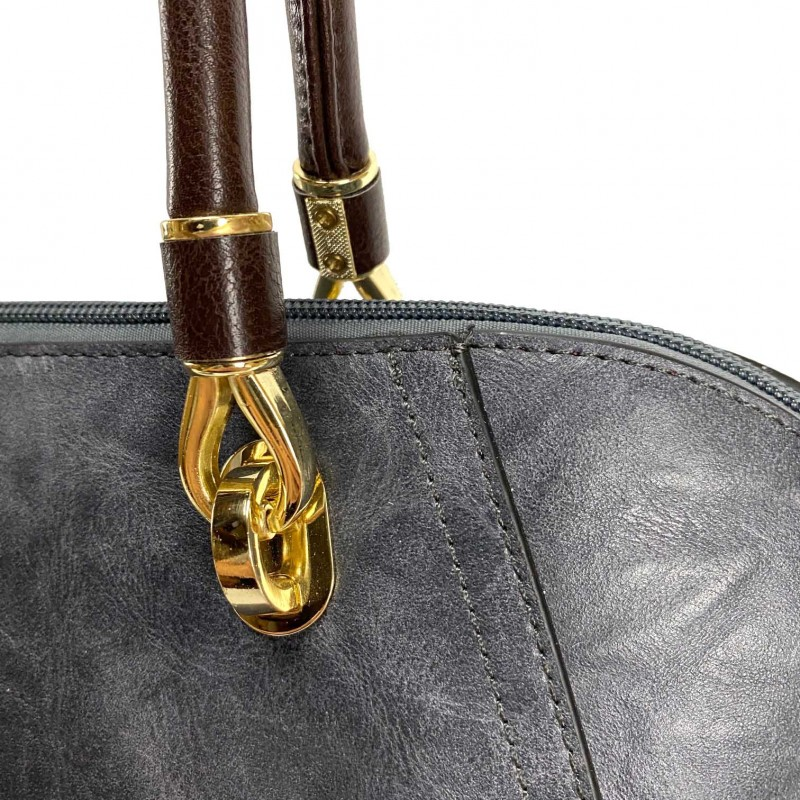 Женская классическая сумка Isa Paulina DS серо-синяя - 18 фото