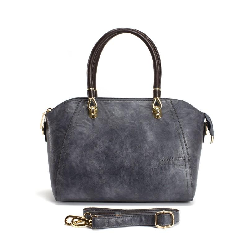 Женская классическая сумка Isa Paulina DS серо-синяя - 19 фото