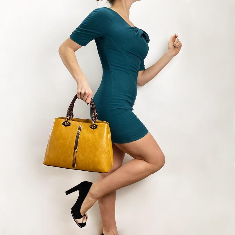 Женская классическая сумка Miranda горчичная фото - 4