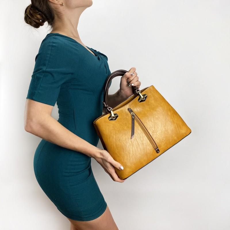Женская классическая сумка Miranda горчичная фото - 5