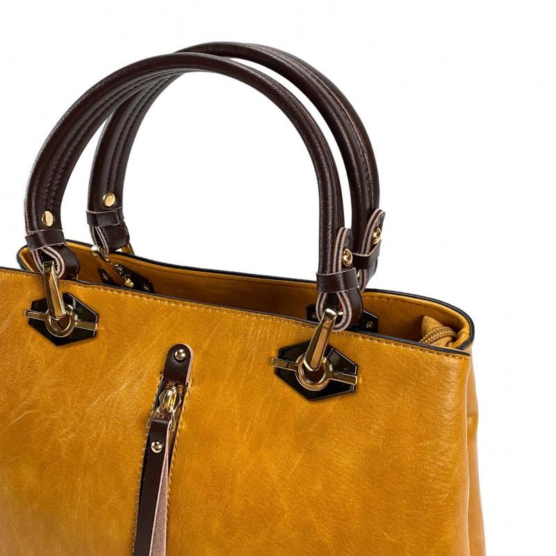 Женская классическая сумка Miranda горчичная фото - 6