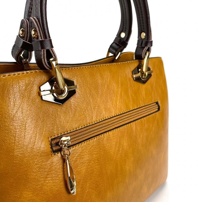 Женская классическая сумка Miranda горчичная фото - 8