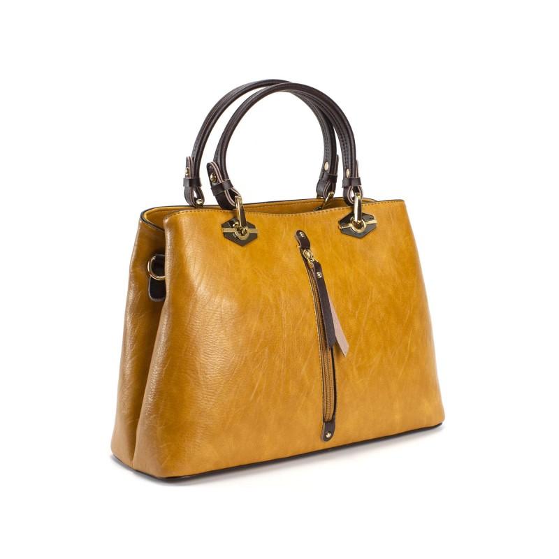 Женская классическая сумка Miranda горчичная фото - 10