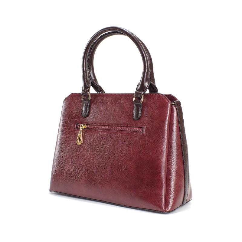 Женская классическая сумка Isa Paulina IP бордовая - 3 фото