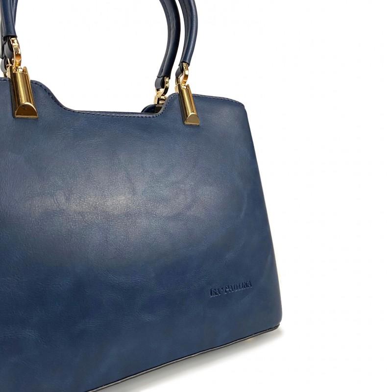 Женская классическая сумка Isa Paulina Fly синяя - 6 фото