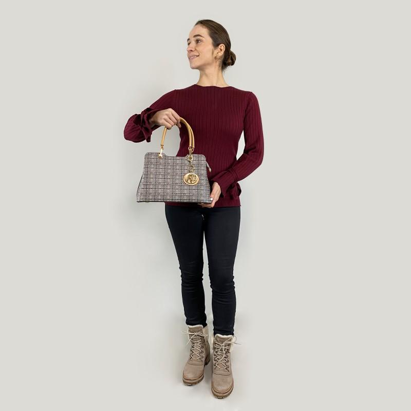 Женская классическая сумка Melody серая - 5 фото