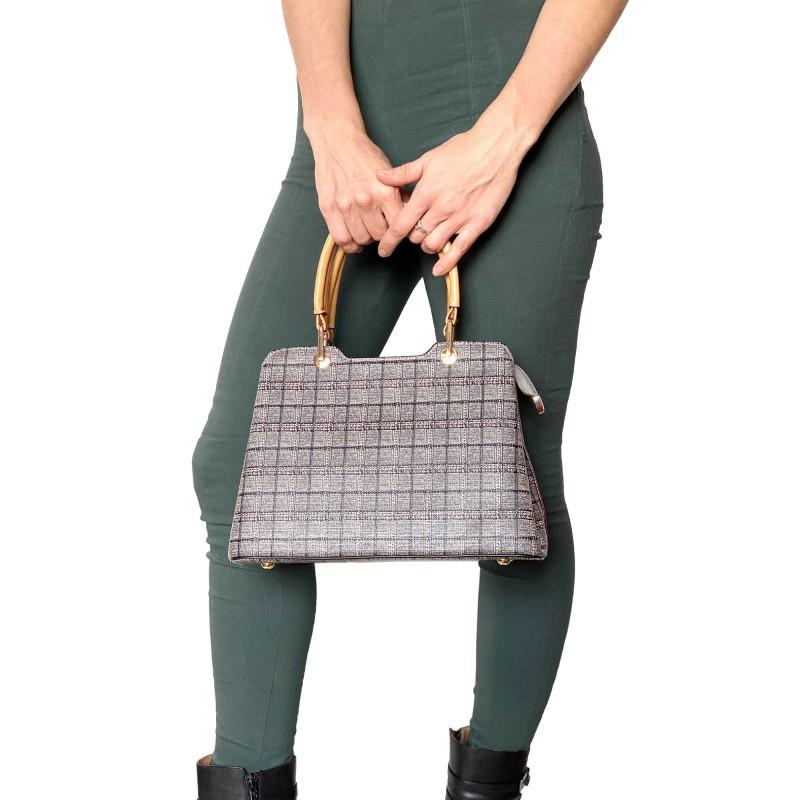 Женская классическая сумка Melody серая - 11 фото