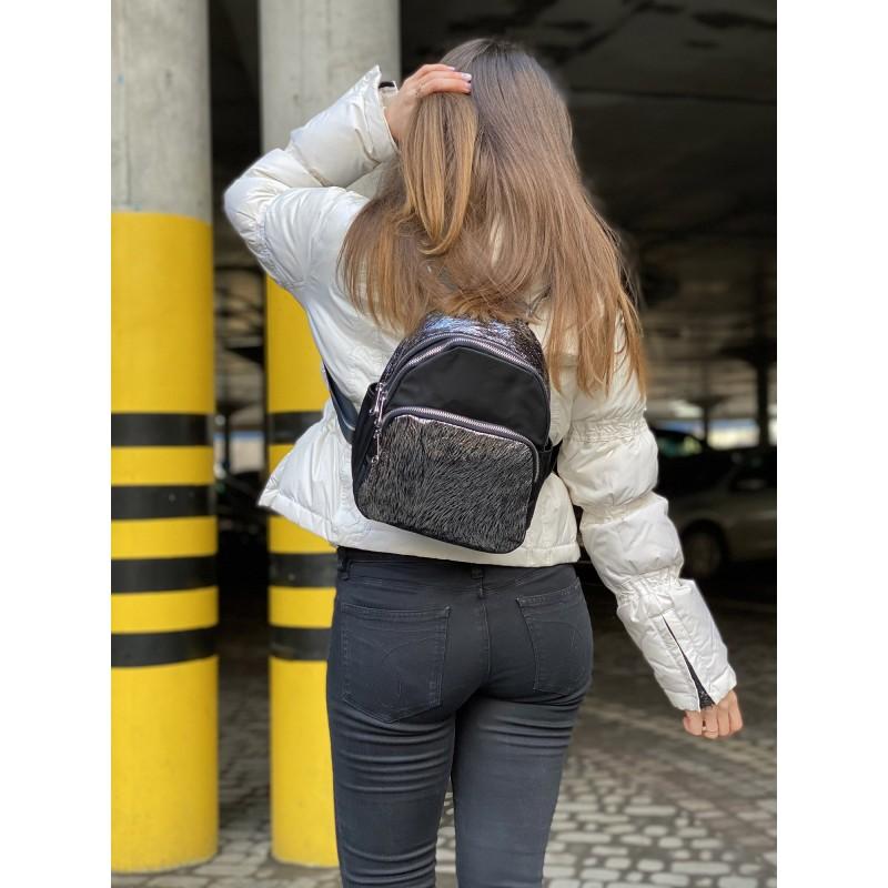 Женский рюкзак Juliet черный с серебром - 4 фото