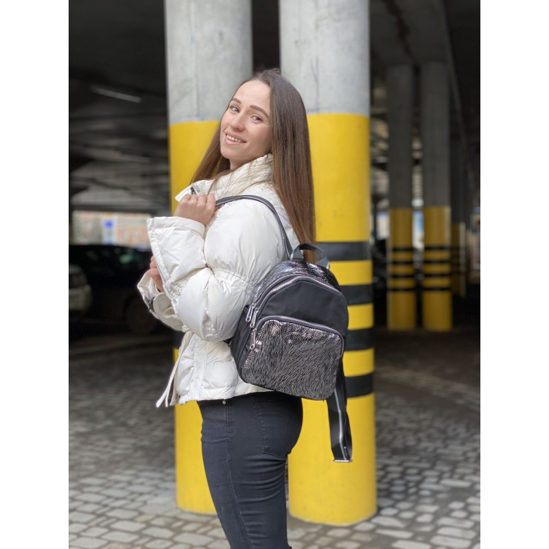 Женский рюкзак Juliet черный с серебром - 5 фото