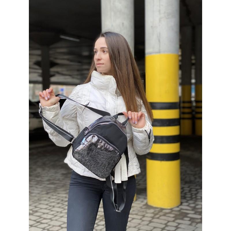 Женский рюкзак Juliet черный с серебром - 6 фото