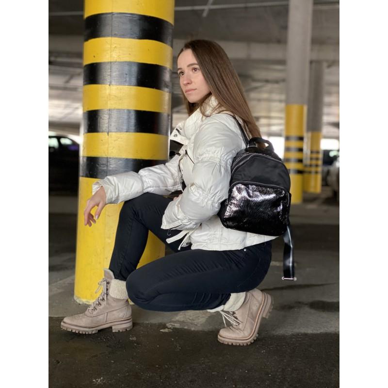 Женский рюкзак Juliet черный с серебром - 7 фото
