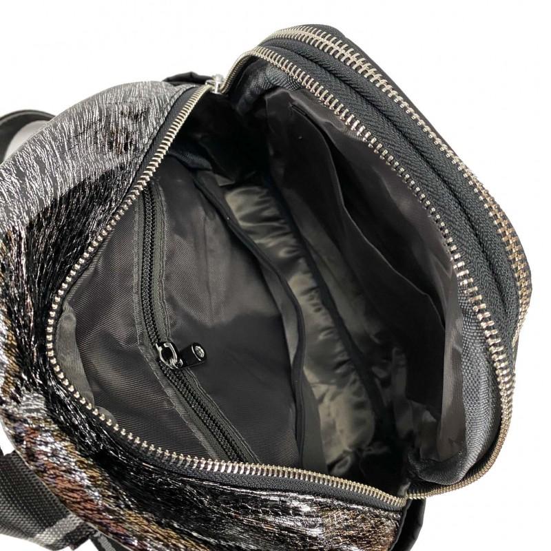 Женский рюкзак Juliet черный с серебром - 8 фото