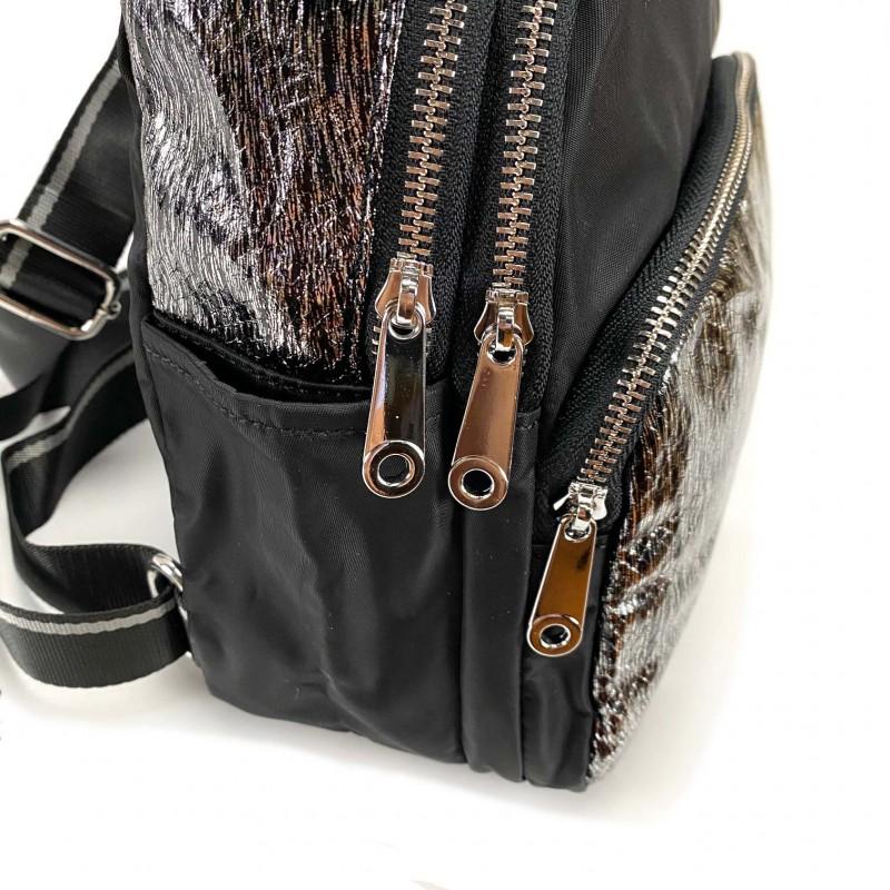 Женский рюкзак Juliet черный с серебром - 9 фото