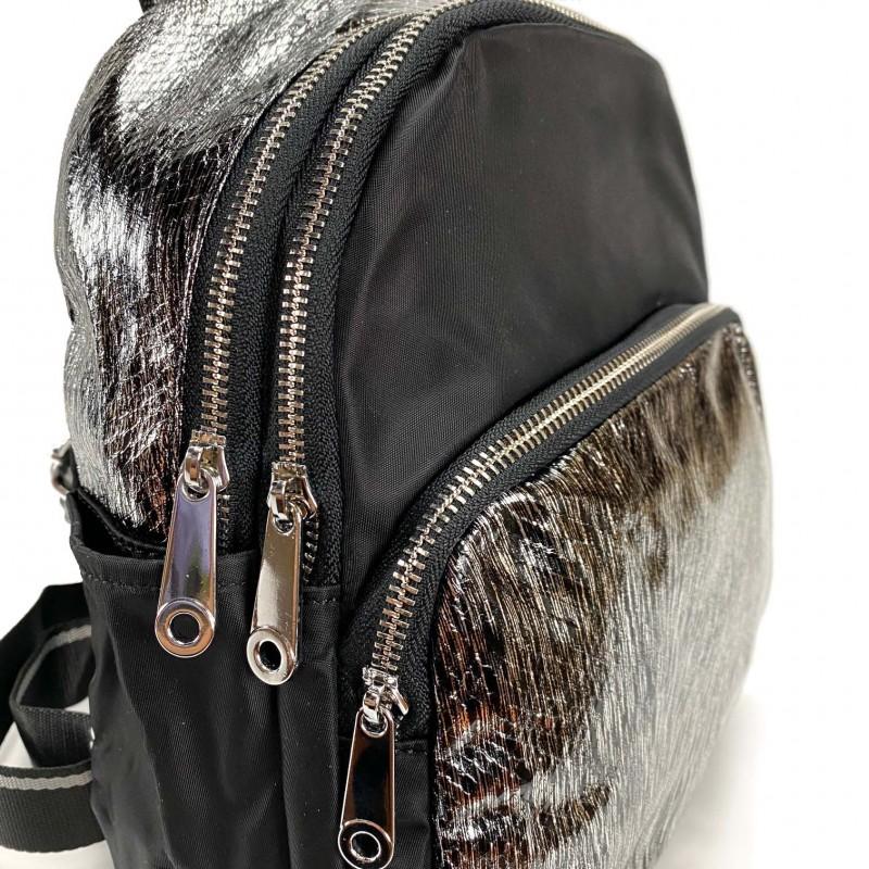 Женский рюкзак Juliet черный с серебром - 10 фото