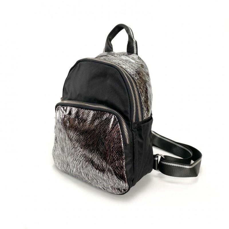 Женский рюкзак Juliet черный с серебром - 11 фото
