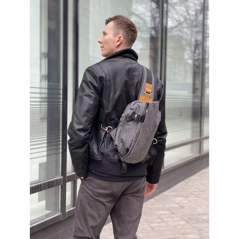 Мужская сумка Mackar Style кросс боди через плечо серая - 2 фото