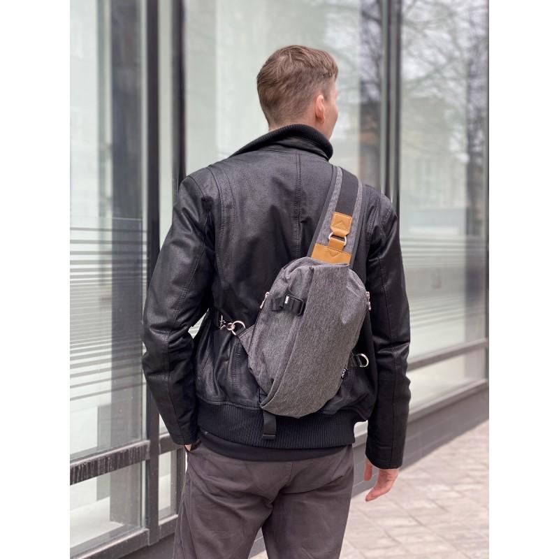 Мужская сумка Mackar Style кросс боди через плечо серая - 3 фото