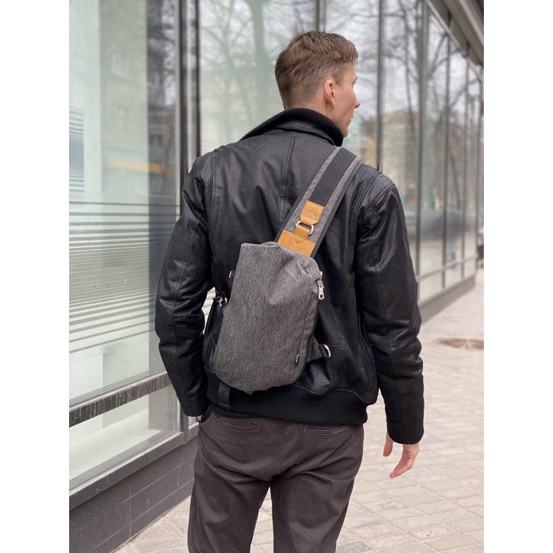 Мужская сумка Mackar Style кросс боди через плечо серая - 4 фото