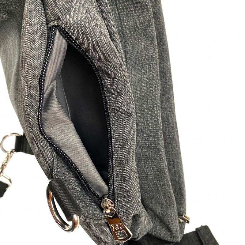 Мужская сумка Mackar Style кросс боди через плечо серая - 7 фото